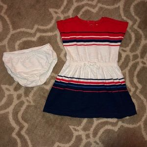 5/$25 Carter's Red white and blue striped dress